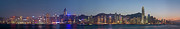 Skyscrapers. Painting Posters - Hong Kong Panoramic Poster by Pg Reproductions