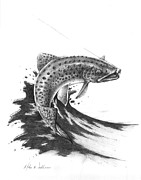 Trout Stream Drawings - Hooked by Mike Worthen
