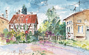 Townscapes Drawings - Houses in Soufflenheim by Miki De Goodaboom