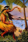 Archival Paintings - Hula Flower Girl 1915 by Hawaiian Legacy Archive - Printscapes