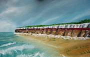 Norfolk; Painting Prints - Hunstanton Cliffs. Norfolk UK Print by Stewart Robinson