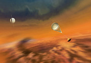 Clouds Painting Framed Prints - Huygens Probe Lands on Titan Framed Print by Don Dixon