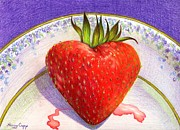 Strawberry Drawings Posters - I Love You Berry Much Poster by Nancy Cupp
