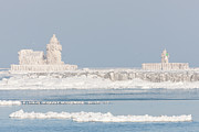 Clarence Holmes - Ice Covered Cleveland Harbor Lighthouses