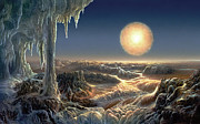 Space Art Framed Prints - Ice World Framed Print by Don Dixon
