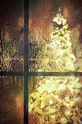 Blurry Lights Prints - Icy window with holiday tree full of lights Print by Sandra Cunningham