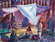 Mexico People Paintings - In Mexico by Bill Joseph  Markowski