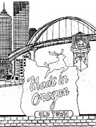 Oregon Drawings - In the Heart of Portland by Harry Richards