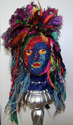 Textile Art Mixed Media Originals - Indian head by Karen Elzinga