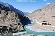 Indus River Sangam Or Meeting Point In Himalayas Of Incredible India Fine Art Print by Sundeep Bhardwaj Kullu sundeepkulluDOTcom