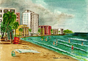 Puerto Rico Painting Originals - Isla Verde Beach San Juan Puerto Rico by Frank Hunter