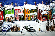 Yards Painting Framed Prints - It Snowed Again Last Night Framed Print by Wilfred McOstrich