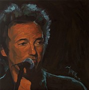 Springsteen Painting Posters - Its Boss Time - Bruce Springsteen Portrait Poster by Khairzul MG