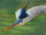 Great Blue Heron Paintings - Ive got my eye on you... by Ruth Ann Sturgill