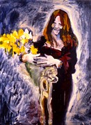 Blues Singers Paintings - Janis with Yellow Roses by Les Leffingwell