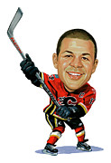 Caricatures Acrylic Prints - Jarome Iginla Acrylic Print by Art