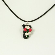 Holiday Jewelry - Jellicle Tuxedo Kitty Hugging Roses Valentine Gift Necklace by Pet Serrano