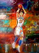 Knicks Metal Prints - Jeremy Lin New York Knicks Metal Print by Leland Castro