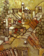 Jerusalem Painting Metal Prints - Jerusalem of gold landscape Metal Print by Rachel Hershkovitz