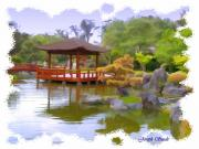 Koi Digital Art - JG-0020 Pavilion Across Koi Pond by Digital Oil