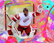 Hockey Paintings - Jimmy Howard by Donald Pavlica