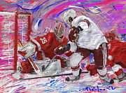Hockey Painting Prints - Jimmy Howard II Print by Donald Pavlica