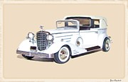 Cadillac Digital Art Originals - Joan Crawfords 1933 Cadillac Towncar by Garry Staranchuk