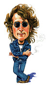 Famous Person Posters - John Lennon Poster by Art