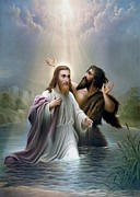 Saviour Posters - John the Baptist baptizes Jesus Christ Poster by War Is Hell Store