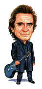 Caricatures Acrylic Prints - Johnny Cash Acrylic Print by Art