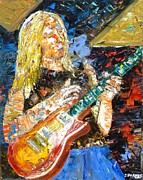 Eric Clapton Painting Metal Prints - Johnny Winter Metal Print by John Barney