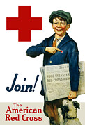 Ww1 Mixed Media Prints - Join The American Red Cross Print by War Is Hell Store
