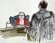 Lawyer Drawings - Judge and Lawyer by Armand Roy