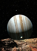 Solar System Posters - Jupiter Seen From Europa Poster by Don Dixon