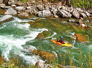 Montana Digital Art - Kayaker on the Gallatin River in Montana USA by Ruth Hager