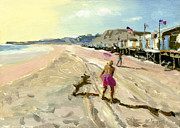 Dog Play Beach Paintings - Keep Away  by Michael Jacques