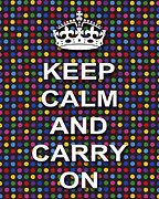Polka Dot Print Fabric Framed Prints - Keep Calm And Carry On Poster Print Blue Green Red Polka Dot Background Framed Print by Keith Webber Jr