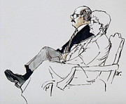 Observer Drawings Prints - Key court observer and wife Print by Armand Roy