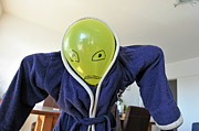 Bathrobe Photos - Kid in dad bathrobe hiding face with balloon by Sami Sarkis