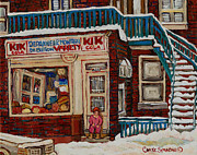 French Cities Paintings - Kik Cola Cornerstore by Carole Spandau