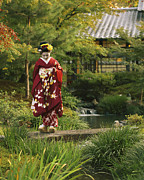 Bathing And Grooming Framed Prints - Kimono-clad Geisha In A Park Framed Print by Justin Guariglia