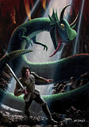 Martin Davey Digital Art Acrylic Prints - Knight In Battle With Giant Serpent Acrylic Print by Martin Davey