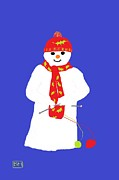 Moignard Prints - Knitting snowman Print by Barbara Moignard