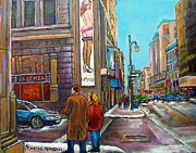 Main Street Corners Paintings - La Senza Peel Street Montreal by Carole Spandau