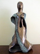 Lady Sculptures - Lady Godiva in a gown green bronze sculpture  by Rachel Hershkovitz