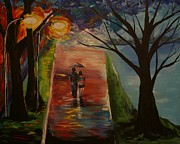 Couples Embracing Originals - Lakeside Stroll by Leslie Allen