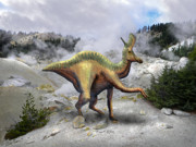 Dinosaur Illustrations - Lambeosarus Near Steam Vent by Frank Wilson