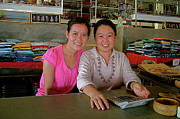 Laotian Digital Art - Laotian Market sales staff on Donsao Island in the Mekong River  by Ruth Hager