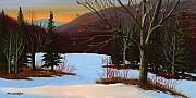 Snowscape Painting Posters - Last Light Of Day Poster by Frank Wilson