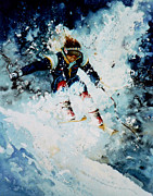 Skiing Art Prints Art - Last Run by Hanne Lore Koehler